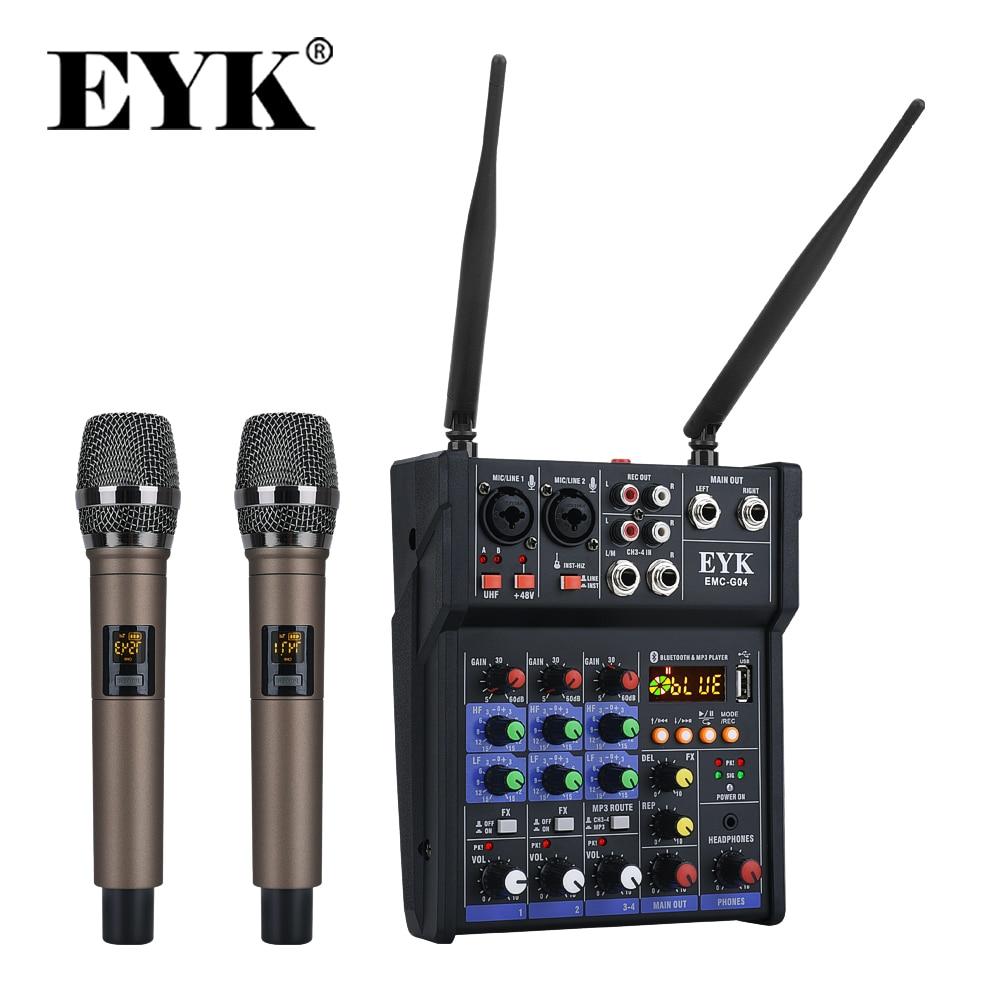 Mezclador de Audio estéreo EYK, micrófonos inalámbricos UHF integrados, consola mezcladora de 4 canales con Bluetooth, efecto USB para DJ, Karaoke, PC, guitarra