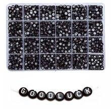 100 pçs 4x7mm preto de volta à terra palavras brancas acrílico oblate espaçador contas carta para fazer jóias diy artesanal acessórios