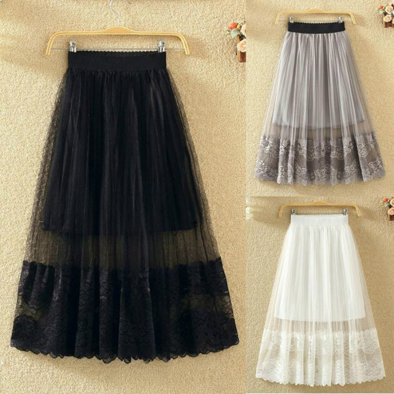 Tulle Skirts Womens Midi Pleated Skirt Black White Cutout Skirt Women 2020 Spring Summer Korean Elastic High Waist Mesh Skirt