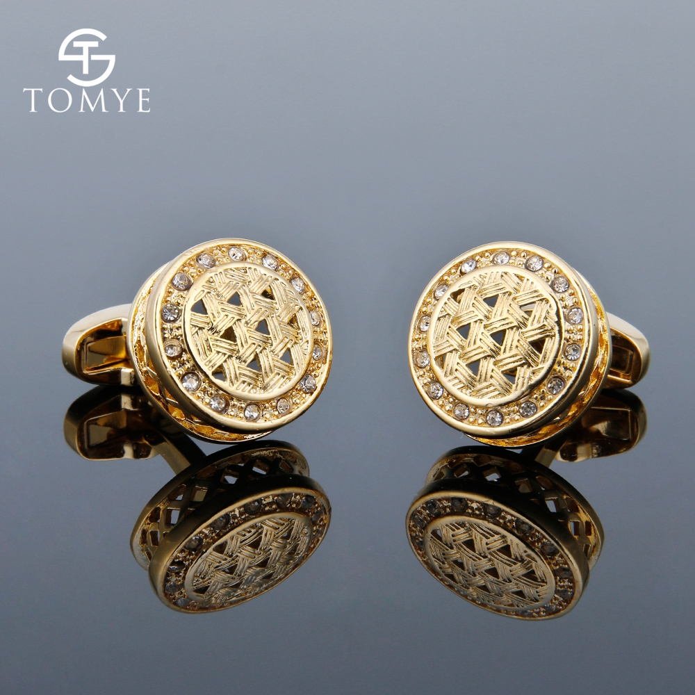 TOMYE Men's Cufflinks Luxury Crystal High Quality French Shirt Business Gift Gold Cuff Links Jewelry XK18S002