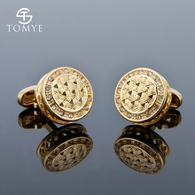 TOMYE Mens Cufflinks Luxury Crystal High Quality French Shirt Business Gift Gold Cuff Links Jewelry XK18S002