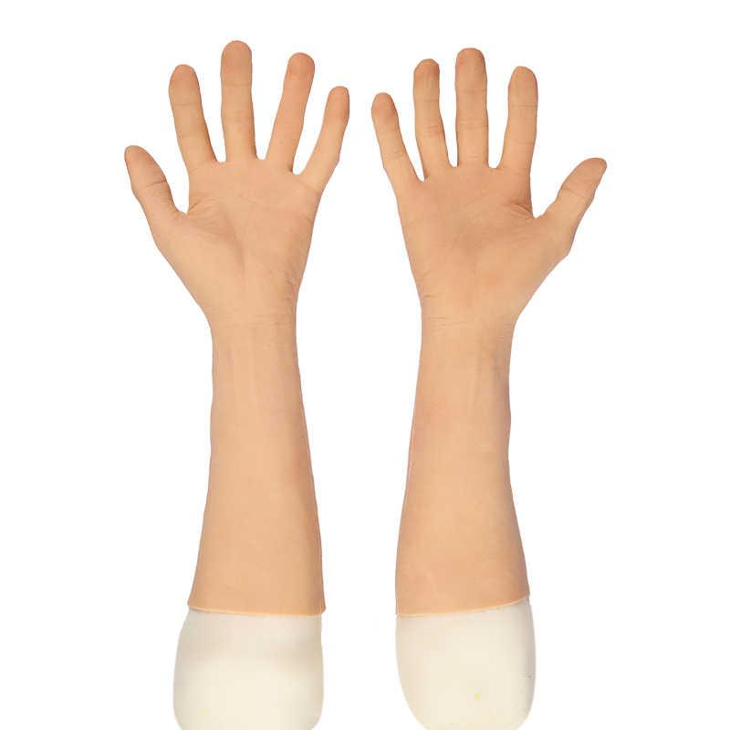 Realistische Prothese Hände Hülse Künstliche hand simulation männer Silikon künstliche gliedmaßen künstliche haut künstliche handschuhe