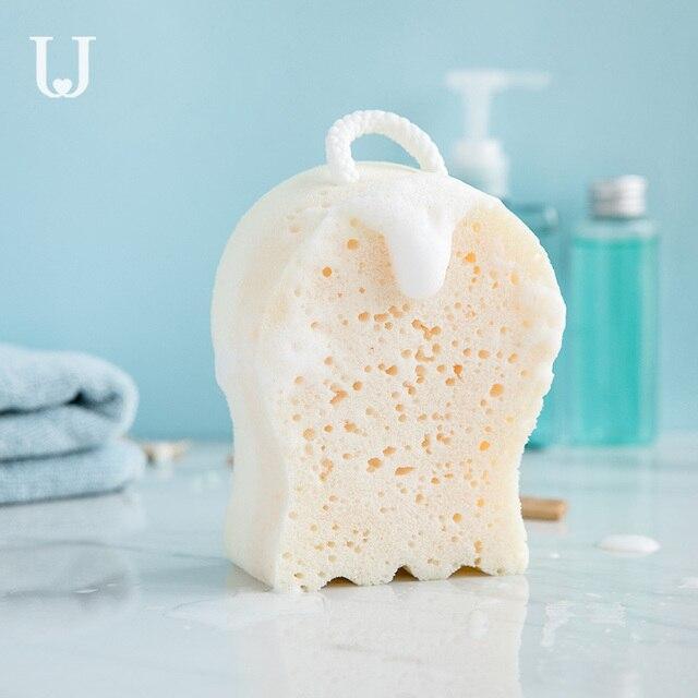 يوبين الكرتون حمام الإسفنج لينة كرة استحمام سين التقشير الإسفنج السلامة البيئية على الوجهين تصميم مع الحبل