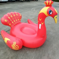 Cross Border Electricity Supplier New Products Wholesale Inflatable Blue And Red Peacock Floating Bed, Inflatable Peacock Riding