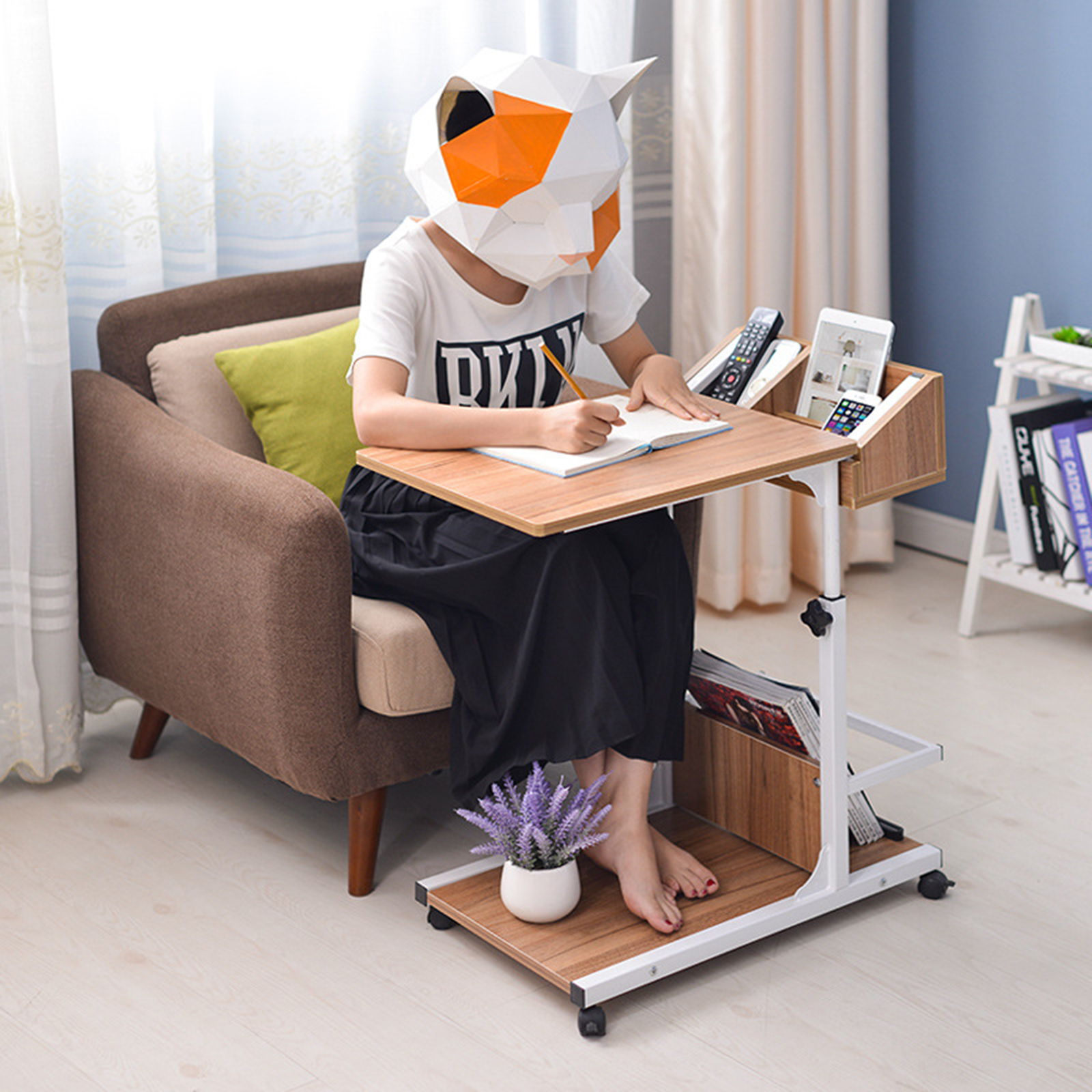 Rolling Laptop Desk Stand Notebook PC Computer Table Adjustable Over Bed