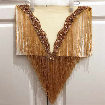hot sale new wedding embroidered crystal beaded tassels collar appliques many color Deep-V neckline with more fringe - DISCOUNT ITEM  8% OFF All Category