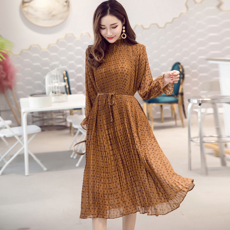 Women Chiffon Dress 2019 Autumn Winter Female Elegant Vintage Long Sleeve Printed Pleated Dress Office Lady Casual Loose Dresses