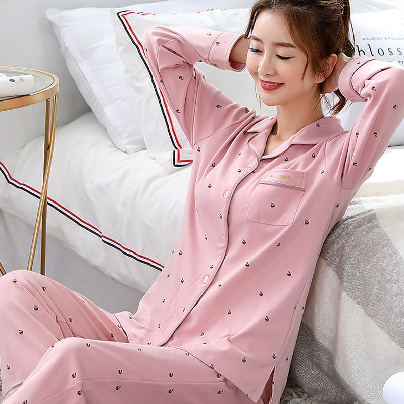 Spring Silk Pajamas For Women Long Sleeve Thin Section Fashion Ladies Homewear Cardigan Nighty Service Summer Pijama Suit Women|Pajama Sets| - AliExpress