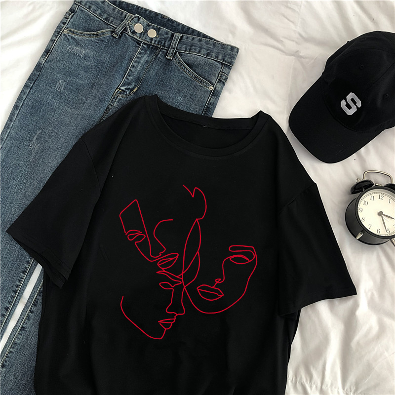 Summer Harajuku Short Sleeve Fashion Abstract Female Korea Ulzzang Tops New Fun Vintage Loose Large Size S-2XL Casual T-shirt