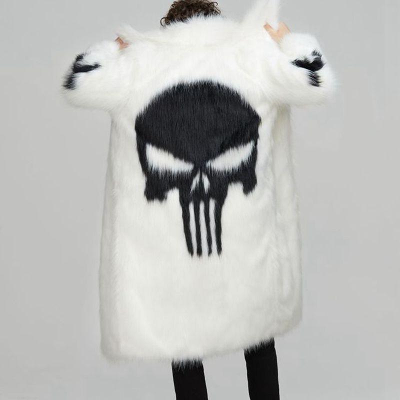 Модное мужское пальто в стиле панк с искусственным мехом, длинное теплое Мужское пальто с рисунком черепа, черно белое, размер S 3XL, Мужская о... - 4