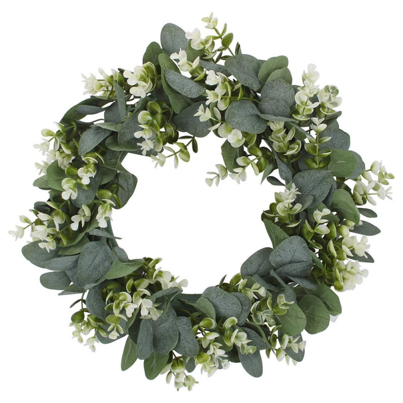 Green Leaf Eucalyptus Wreath For Festival Celebration Front Door/Wall/Fireplace Laurel/Eucalyptus Hanger Home Relaxed Decoration