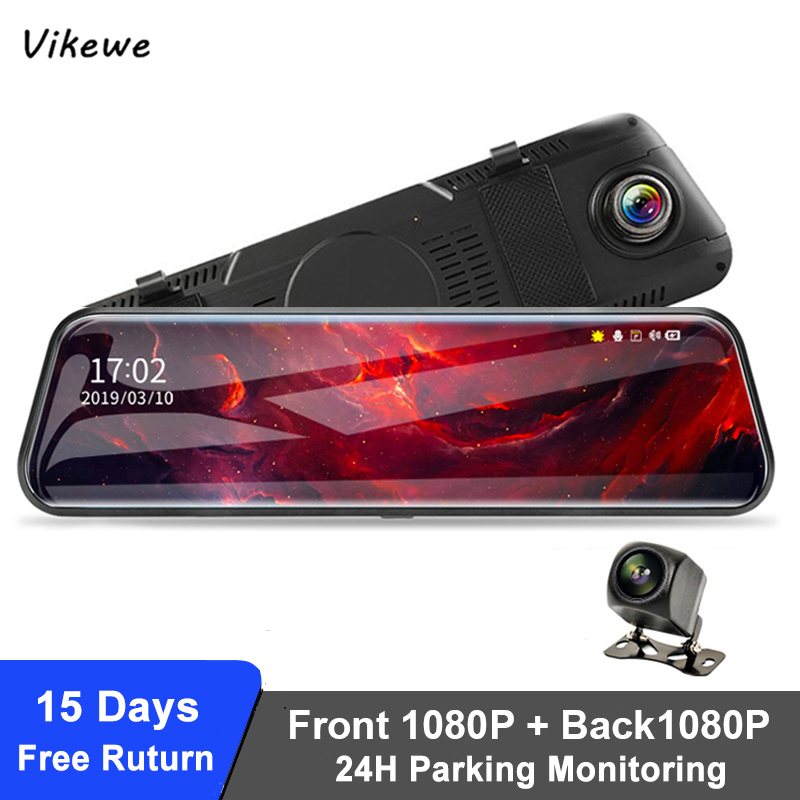 Vikewe 10 Inch Auto DVR Spiegel FHD 1080P Dash Kamera Video Recorder Auto Kamera Dual Objektiv Mit Rück Kamera auto Kanzler