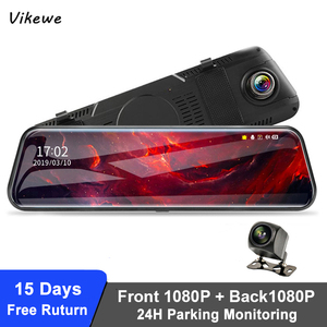 Vikewe 10 Inch Car DVR Mirror FHD 1080P Dash Camera Video Recorder Car Camera Dual Lens With Rearview Camera Auto Registrar(China)