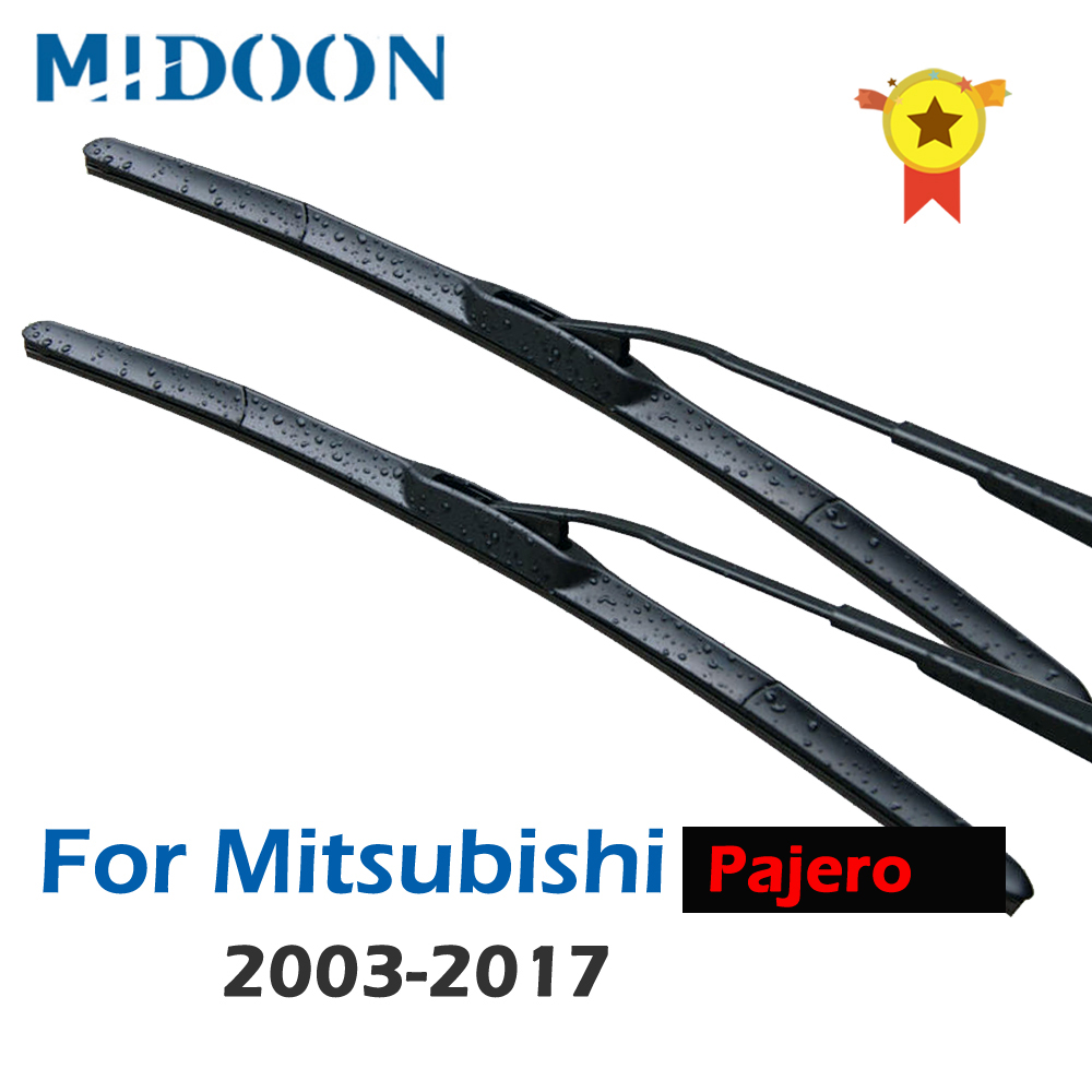 MIDOON Hybrid Wiper Blades for <font><b>Mitsubishi</b></font> <font><b>Pajero</b></font> Fit Hook Arms Model Year From 2000 to 2015 2001 <font><b>2002</b></font> 2003 2004 2005 2006 2007 image
