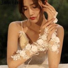 JaneVini Kant Bloemen Bruid Handschoenen Vingerloze Parels Geappliceerd Bruids Trouwjurk Handschoenen Wit Kant Up Handschoen Pols Decoraties
