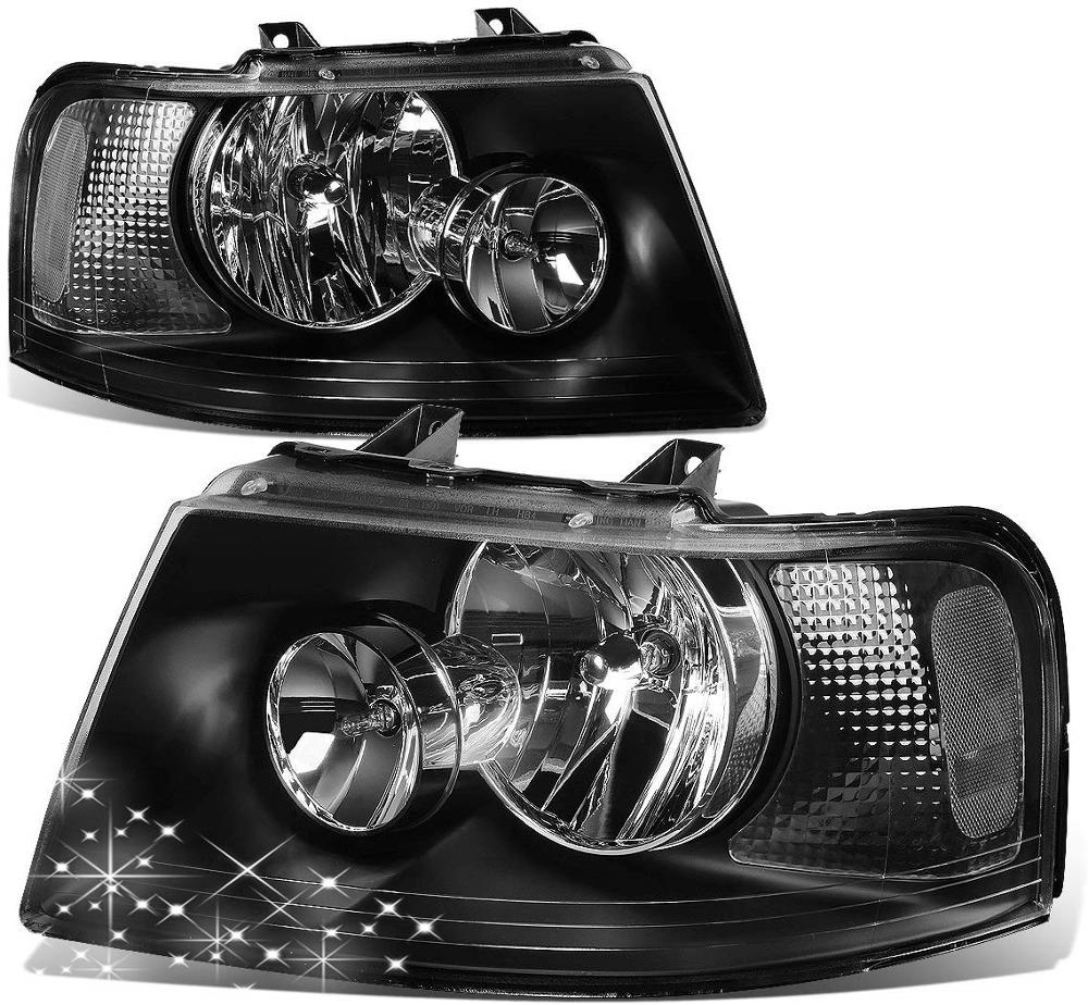 Sulinso For Ford-Expedition 2 Pair Of OE Style Black Housing Clear Corner Headlight