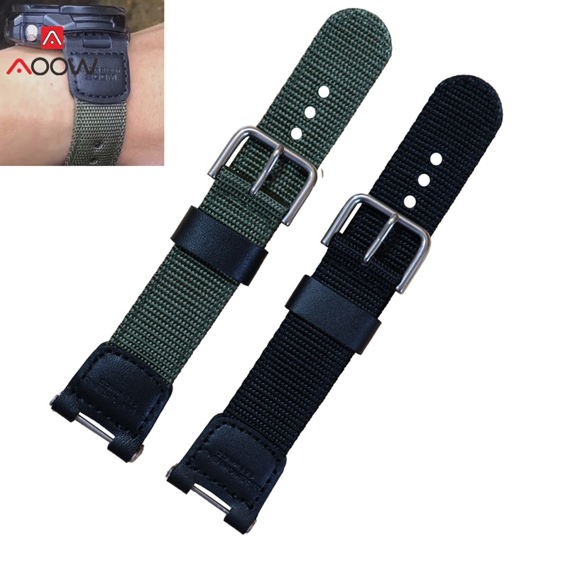 Military Green Nylon Watchband for Casio SGW-100 SGW100 Waterproof Strap Replacement Driving Sport Watch Accessories