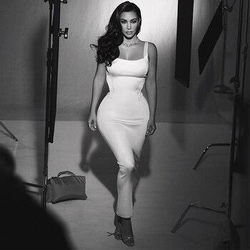 Ocstrade Summer Long Maxi White Kim Kardashian Dress 2020 Fashion Women Lace Celebrity Bandage Dress Bodycon Evening Party Dress elegant velvet party dress women winter 2019 long sleeve maxi bandage bodycon long party dress women plus size blue dress lady