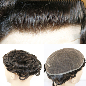 Image 5 - Peluca de cabello humano brasileño para hombre peluquín de aspecto Natural con encaje suizo completo, reemplazo de Peluca de cordón, Remy