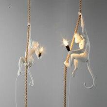 Modern LED Pendant Lamp 7 Color Monkey Hemp Rope Lights Lighting Art Replicas Resin Seletti Hanging Luminaire