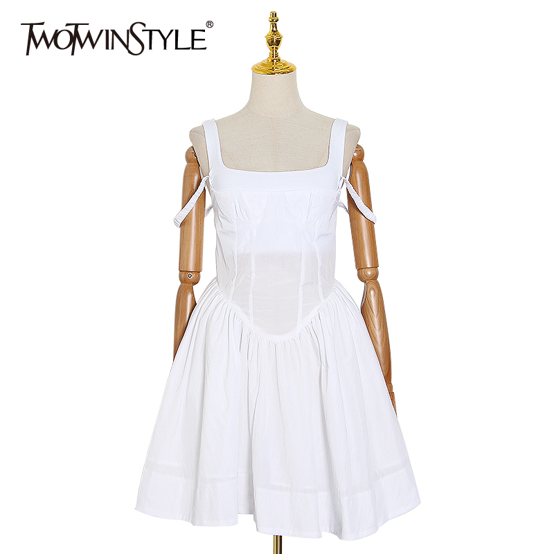 TWOTWINSTYLE Elegant Evening Party Summer Dress Women Square Collar Sleeveless Spaghetti Strap High Waist Ruched Dresses Female