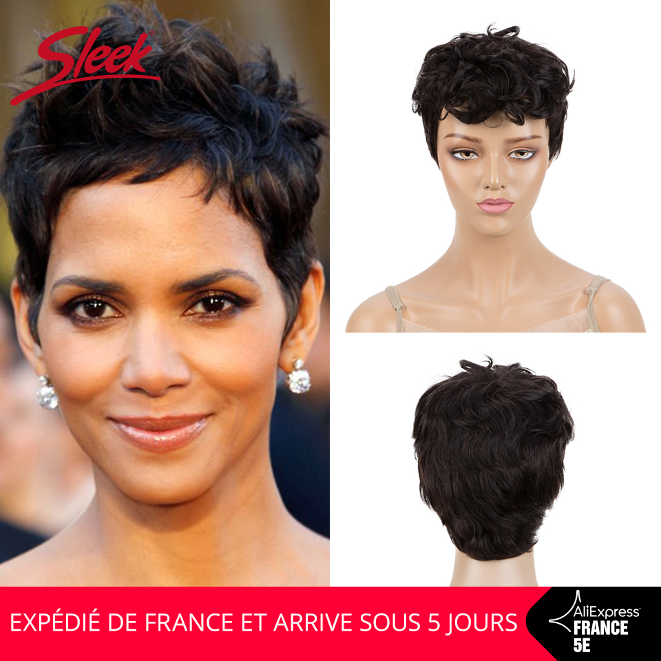 Sleek Short Human Hair Wigs 8 Inch Short 150% Density Wigs Natural Color Short Wavy Wig Pixie Cut Wig In France Fast Shipping