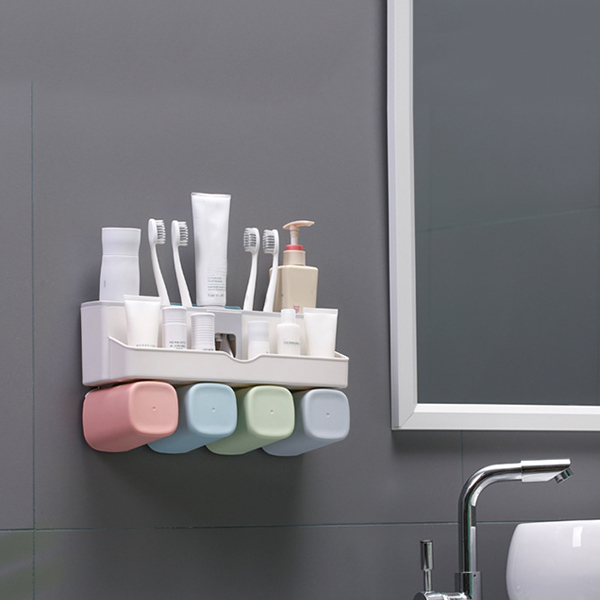 Large Capacity Toothbrush Holder Wall Mount Storage Rack with Automatic Toothpaste Dispenser SLC88 image