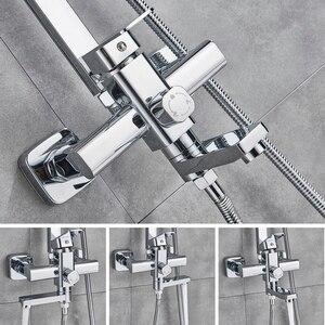 Image 5 - Chrom polerowany zestaw prysznicowy końcówka prysznica ABS i rączka prysznica czarny Facet dwa rodzaje kształtu System prysznicowy gorący mieszacz zimnej kran do wanny