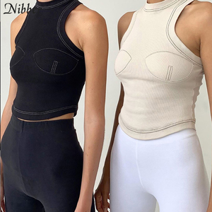 Image 5 - Nibber autumn new pure knitting crop top women street casual stretch Slim Active Wear black sleeveless tank top mujer Basic tees