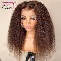 Elva pelo rubio frente de encaje pelucas de cabello humano pelucas Remy Pre-arrancado de encaje pelucas con minimechones Ombre Pelo Rizado pelucas 360 peluca Frontal de encaje