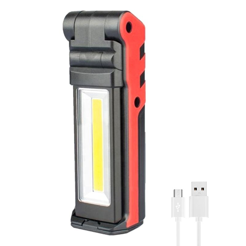 Super Bright COB LED Working Light With Magnetic Base & Hook USB Rechargeable Dimmable Flashlight