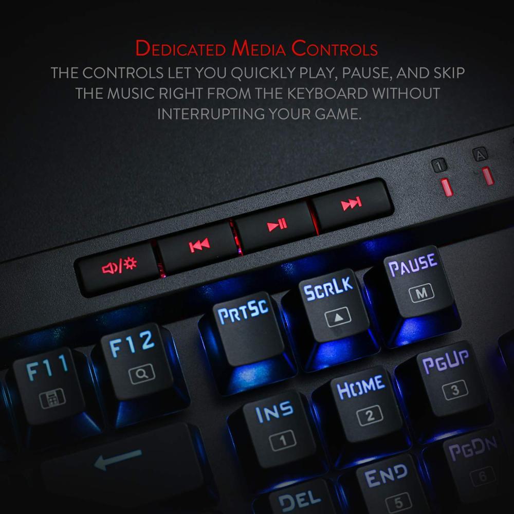 Image 3 - Механическая игровая клавиатура Redragon K580 VATA, RGB светодиодный с подсветкой 104 клавиши, анти ореолы, макроклавиши, синие переключатели для DOTA 2 геймеровКлавиатуры    АлиЭкспресс