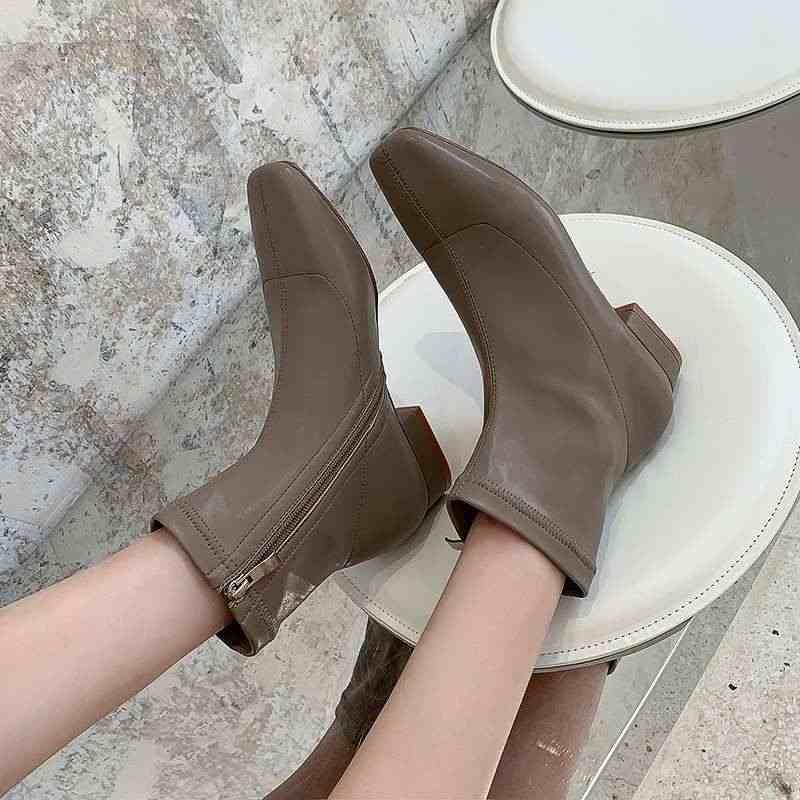 Krazing pot Internet popüler katı kore tarzı streç çizmeler kare ayak düşük topuklu yan fermuar kış sıcak kadınlar yarım çizmeler L16