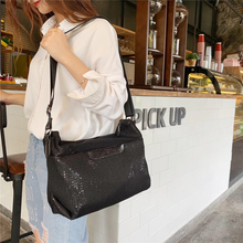 New womens waterproof nylon shoulder bag fashion sequined mesh personality portable Messenger
