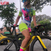 Kafitt pro equipe triathlon conjunto camisa de ciclismo feminino uma peça macacão manga curta macaquinho conjunto feminino gel almofada 15