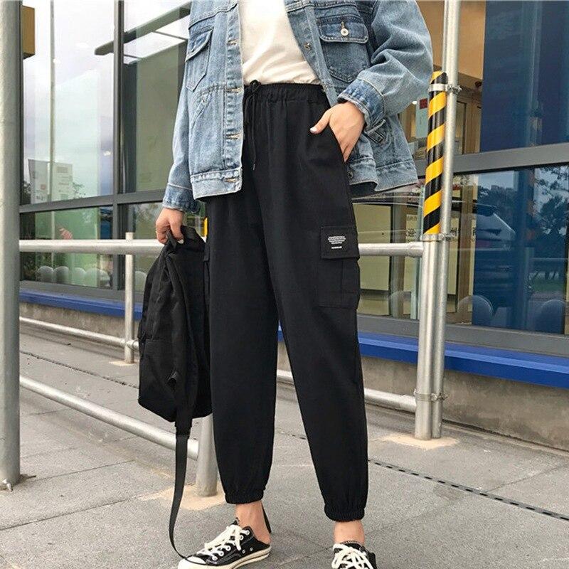 2019 New Harajuku Streetwear Ladies Pants Women Men Casual Solid Big Pocket Pants High Waist Loose Trousers Pantalones Mujer