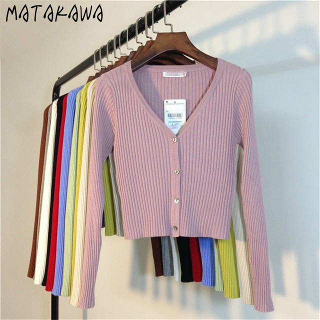 MATAKAWA Sexy Long Sleeve Buttons Women's Sweater Patchwork  2020 Fashion Ribbed  Slim Sweaters Ladies Knitted Cardigan 3