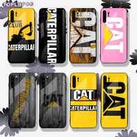 TOPLBPCS-funda de vidrio templado para teléfono Huawei, logo Caterpillar, negro, para Huawei P9 10 20 30 plus lite pro Mate9 10 20 pro lite Nova3 E 5