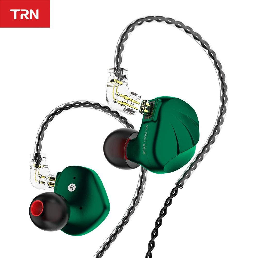 Novo trn vx 6ba + 1dd híbrido metal no ouvido fone de ouvido iem alta fidelidade dj monitor correndo esporte fone earplug headplug