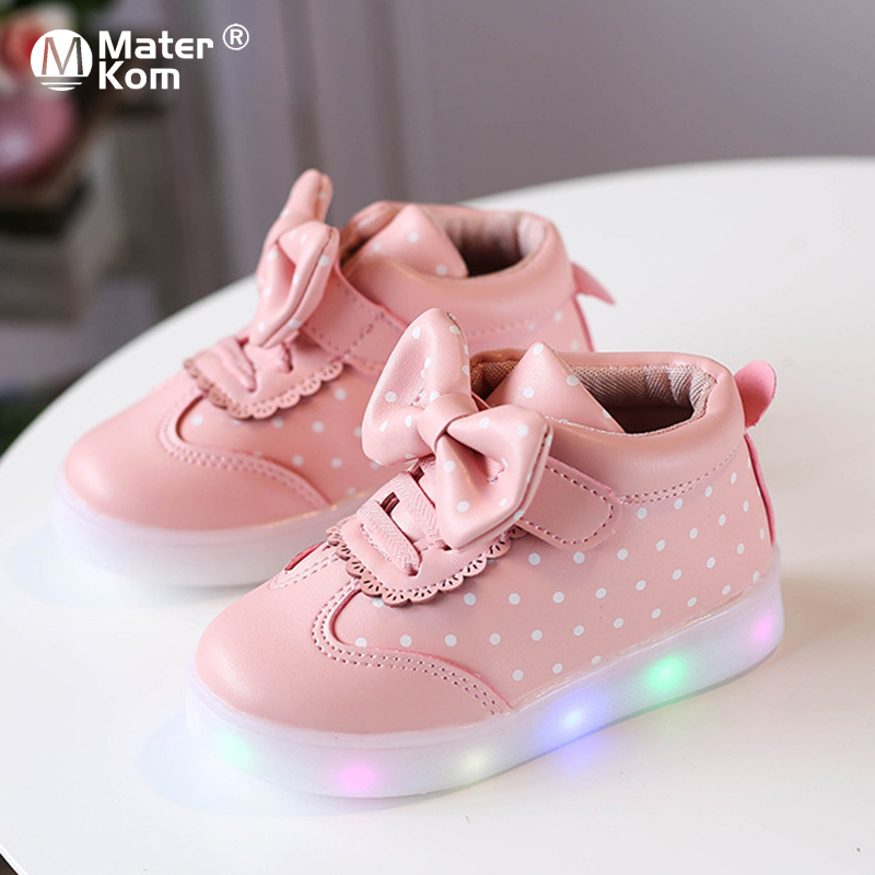 Size 21-30 Baby Led Shoes For Girls Glowing Toddler Shoes For Kids Princess Pink Shoes Children Luminous Sneakers With Lights