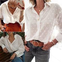 Tops y blusas para mujer de manga larga Otoño de punto de malla botón superior camisa de las señoras tops con cuello en V blusa Vintage de moda de ropa nueva