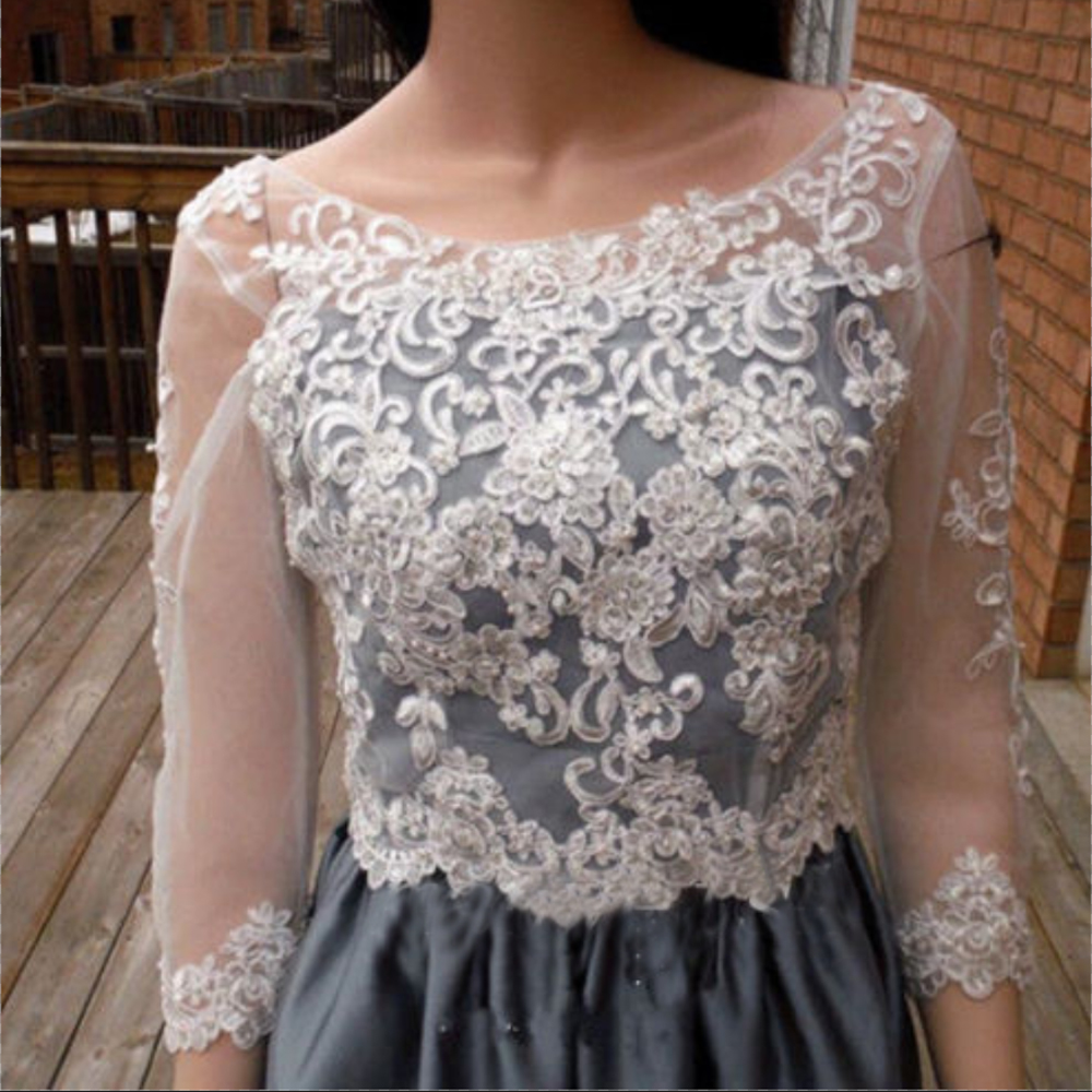 Appliques Wedding Jackets Top Bridal Boleros Lace Wraps 3/4 Sleeve Pearls Beaded V-Back