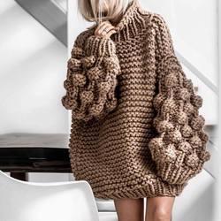 Suéter de punto de Cable mujer Otoño Invierno Vintage viento perezoso bolas de punto manga de linterna tejido a mano grueso Mohair suéter Pull femme