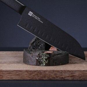 Image 4 - Orijinal Huohou serin siyah mutfak değil yapışkan bıçağı 2 adet paslanmaz çelik kesme makinesi seti