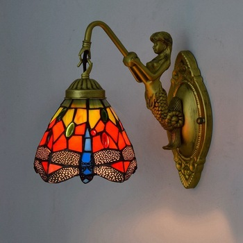 European style retro Tiffany colored glass living room dining room bedroom bar club corridor Red Dragonfly wall lamp european mediterranean tiffany retro pendant light hallway cozy creative lamp bar corridor