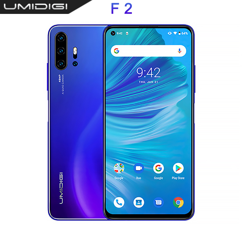 "UMIDIGI F2 Global version Android 10 6.53 ""FHD + 6GB 128GB 32MP Selfie Helio P70 48MP AI Quad Camera mobile phone 5150mAh NFC"