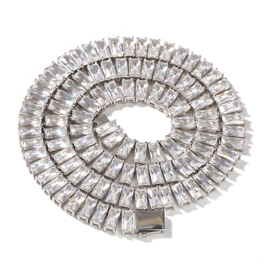 Hip Hop Bling Ice Out 1 rangée CZ pierre Tennis chaîne collier or acier inoxydable cubique zircone colliers hommes bijoux