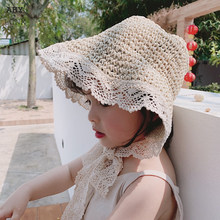 Summer Spring Baby Girl Straw Hat Fisherman Sun Hat Beach Sunshade Lace Up Women Lady Outdoor Parent-child hats(China)