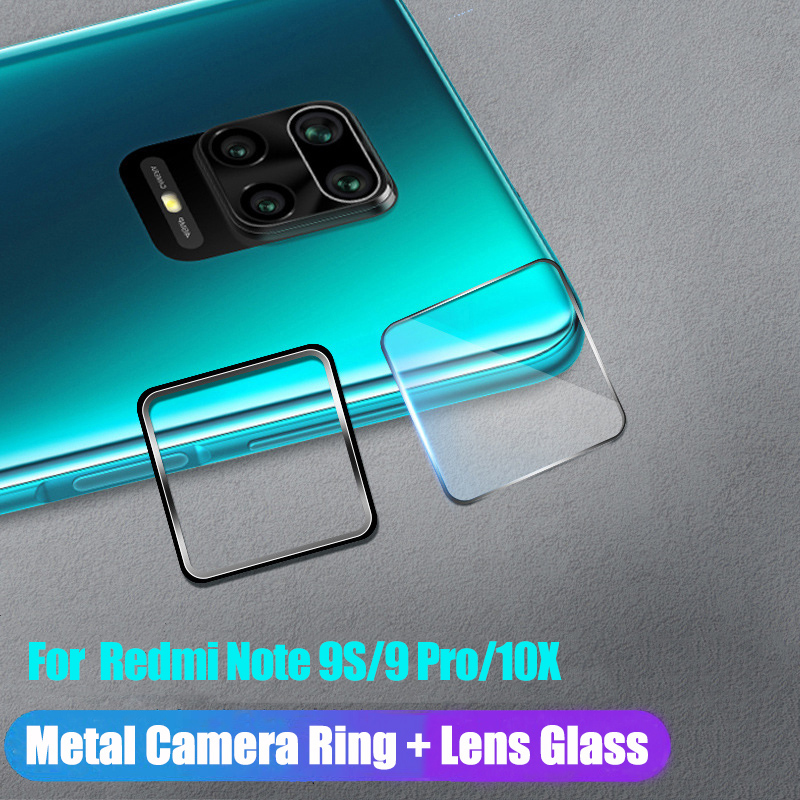 Tempered Glass + Metal Protective Ring For Xiaomi Redmi Note 9 Pro Max 9S 10X Glass Camera Lens Film For Redmi Note 9S 9 10X Pro(China)