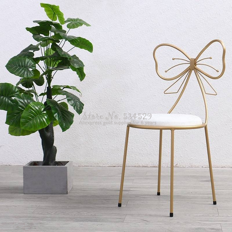 30% Modern Minimalist Dining Room Chair Princess Girl Heart Dressing Table Chair Nordic Back Net Red Makeup Chair European Chair